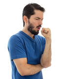 Student coughing due illness. White background. Young man with cough, isolated on white background Royalty Free Stock Images