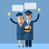 Student Couple Graduation Gown Woman Man Hold Light Bulb With Chat Box Flat Royalty Free Stock Photography
