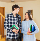 Student couple at house Royalty Free Stock Photos