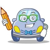 Student cute car character cartoon Stock Images
