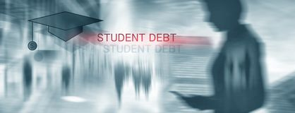 Student debt. Concept education and slavery. Student silhouettes royalty free illustration