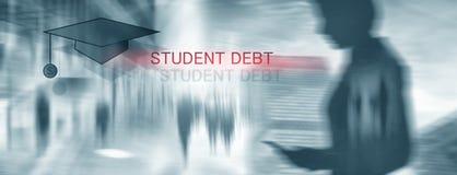 Student Debt De conceptenonderwijs en slavernij Studentensilhouetten royalty-vrije illustratie