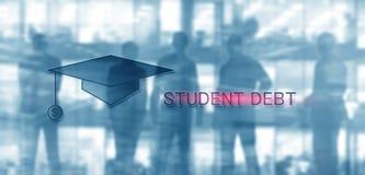Student Debt De conceptenonderwijs en slavernij Studentensilhouetten royalty-vrije stock fotografie