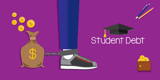 Student debt for education. Student debt and loan for education vector illustration Stock Photo