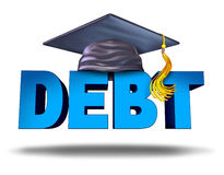 Student Debt. Financial concept as a graduation mortar board on the word for school tuition loan repayment or lending and education financing symbol for Stock Photos