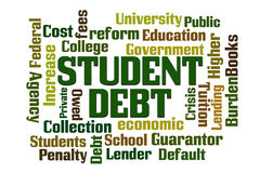 Student Debt. Word cloud on white background Royalty Free Stock Photos