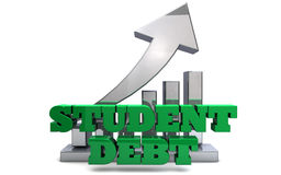 Student Debt. The words STUDENT DEBT rendered in 3D with an upward arrow Stock Images