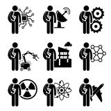 Student Degree in Engineering. A set of human pictogram representing course degree in engineering which include electrical electronic, mechanical Royalty Free Stock Photo