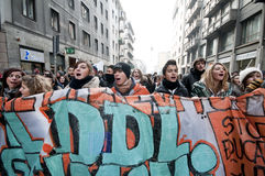 Student demonstration in Milan december 14, 2010 Royalty Free Stock Images