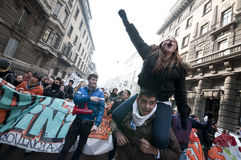 Student demonstration in Milan December 14, 2010 Royalty Free Stock Photography