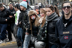 Student demonstration in Milan December 14, 2010 Stock Photos
