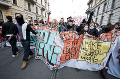 Student demonstration in Milan December 14, 2010 Stock Images