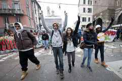 Student demonstration in Milan December 14, 2010 Stock Photography