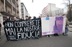 Student demonstration in Milan December 14, 2010 Stock Photo