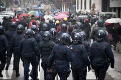 Student demonstration in Milan december 22, 2010 Stock Images