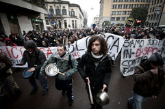Student demonstration in Milan december 22, 2010 Royalty Free Stock Photo