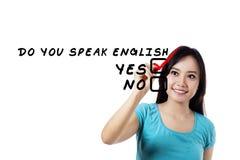 Student, der Englisch lernt lizenzfreie stockfotos