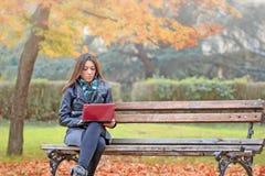 Student, der Laptop zu draußen lernen verwendet Stockfoto