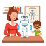 Student, der Robotik mit Lehrer und Roboter lernt stock abbildung