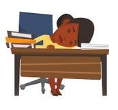 Student, der am Schreibtisch mit Buch schläft lizenzfreie abbildung