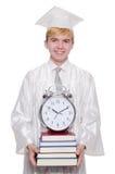 Student, der seine Fristen mit Uhr verfehlt Stockfoto