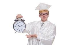 Student, der seine Fristen mit Uhr verfehlt Stockbild