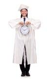 Student, der seine Fristen mit Uhr verfehlt Lizenzfreie Stockbilder