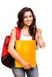 Student, der sich Daumen zeigt Lizenzfreies Stockfoto