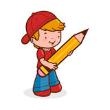 Student des kleinen Jungen, der einen großen Bleistift hält lizenzfreie abbildung
