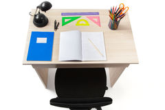 Student Desk with Clipping Path Royalty Free Stock Image