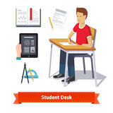 Student desk colourful flat icon set Royalty Free Stock Images
