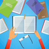 Student Desk Hands Hold Note Book Read Text Flat Stock Photos