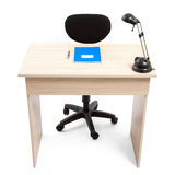 Student Desk with Notebook Pen and Lamp Stock Photos