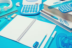 Student desk with open notebook Stock Photos