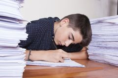 Student at the desk studying. School and children Royalty Free Stock Photography