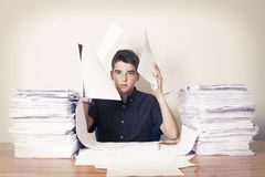 Student at the desk studying. School and children Royalty Free Stock Photo