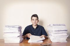 Student at the desk studying. School and children Stock Photography