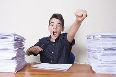 Student at the desk studying. School and children Royalty Free Stock Images
