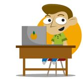Student on desk stock illustration