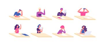Student at desks. Young boy girl sitting desk pupil teenagers at tables preparation school test college examination. Vector characters. Illustration of school stock illustration