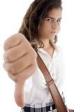Student die duim neer toont Royalty-vrije Stock Afbeelding