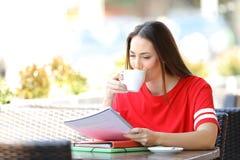 Student die het drinken koffie in een bar bestuderen royalty-vrije stock foto