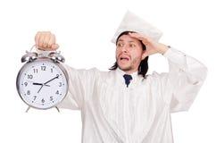 Student die zijn uiterste termijnen met klok missen Stock Afbeelding