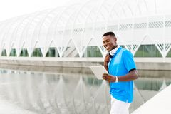 Student with Digital Tablet stock image