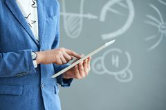 Student with digital tablet royalty free stock photo
