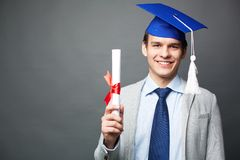 Student with diploma Stock Photo