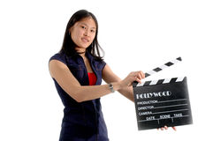 Student Director. College intern movie director with slate royalty free stock photos