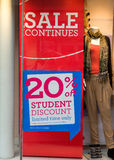 Student discount. An image showing an extra discount of 20% offered to students in addition to sale price reductions Stock Images