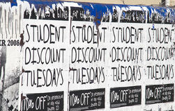 Student Discount Poster #2. Poster saying student discount 10%. Copyspace stock image