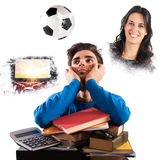 Student distracted. From what he would do Stock Photo